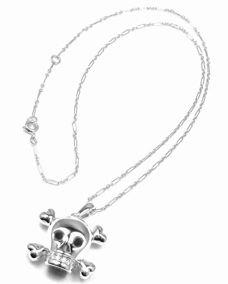 304ea46c4a Christian Dior Tete de Mort Skull Diamond White Gold Pendant Necklace