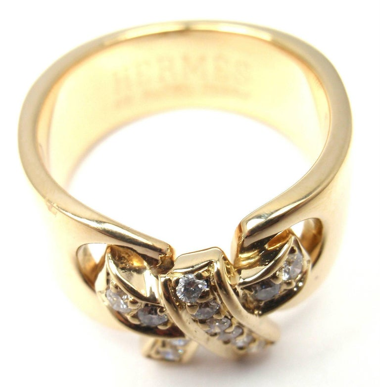 hermes bow yellow gold band ring for sale at 1stdibs