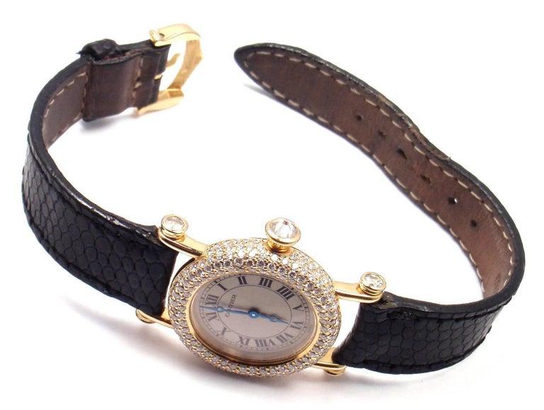 Cartier Ladies Yellow Gold Diamond Diabolo Quartz Wristwatch 9