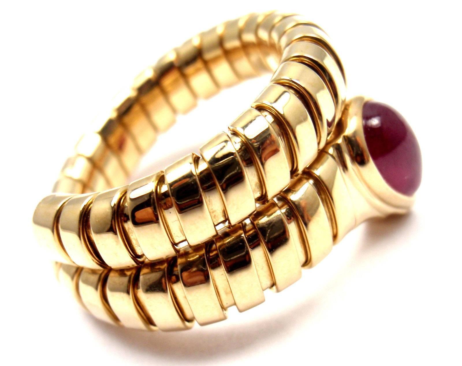 bulgari tubogas ruby coil snake yellow gold ring 3