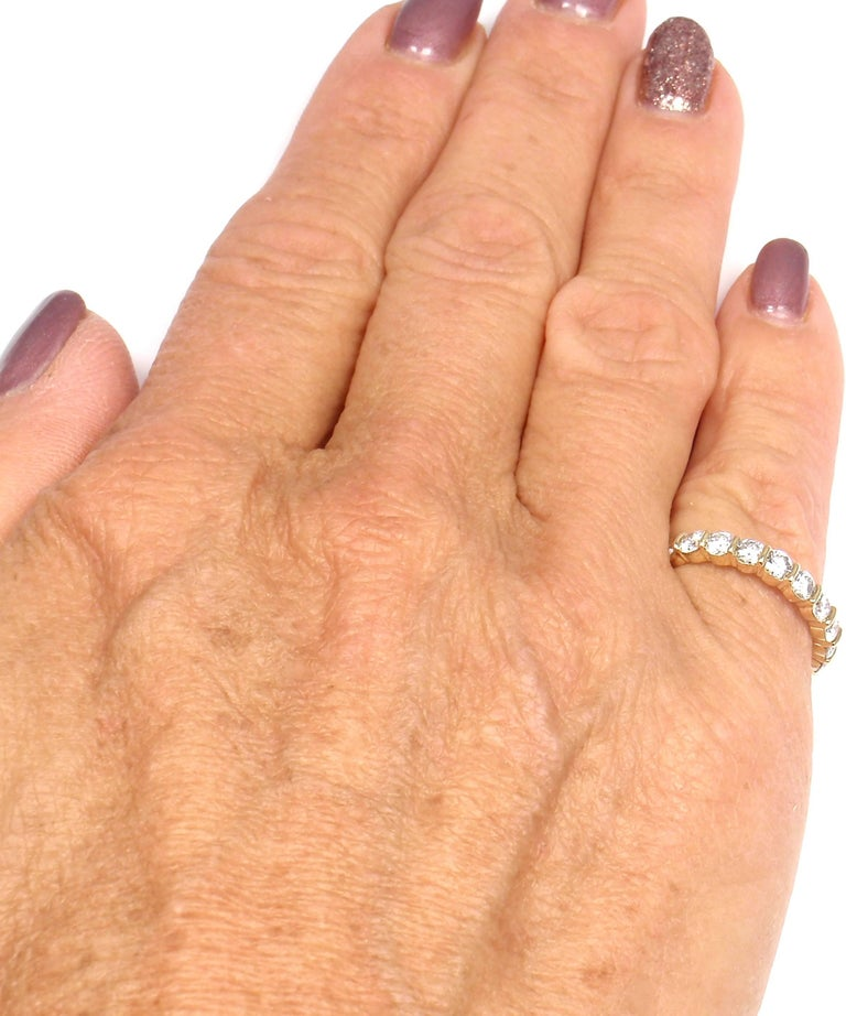 Tiffany & Co. Diamond Eternity Yellow Gold Wedding Band Ring 7