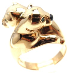 Cartier Double Panther Emerald Black Onyx Yellow Gold Band Ring
