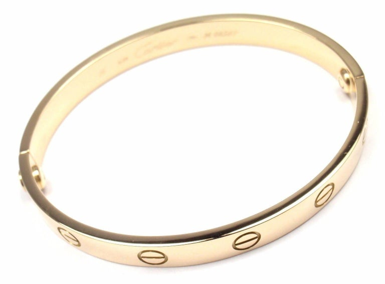 Cartier Love Yellow Gold Bangle Bracelet For Sale 6