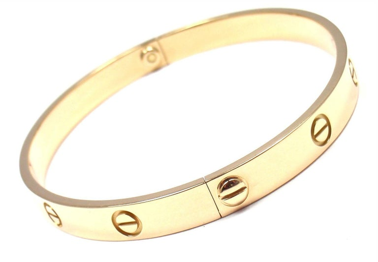 Cartier Love Yellow Gold Bangle Bracelet For Sale 3
