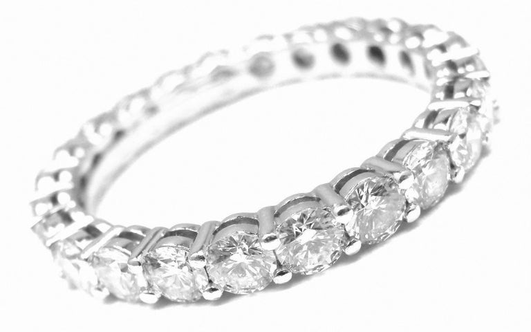 Tiffany And Co Diamond Shared Setting Wide Platinum Band