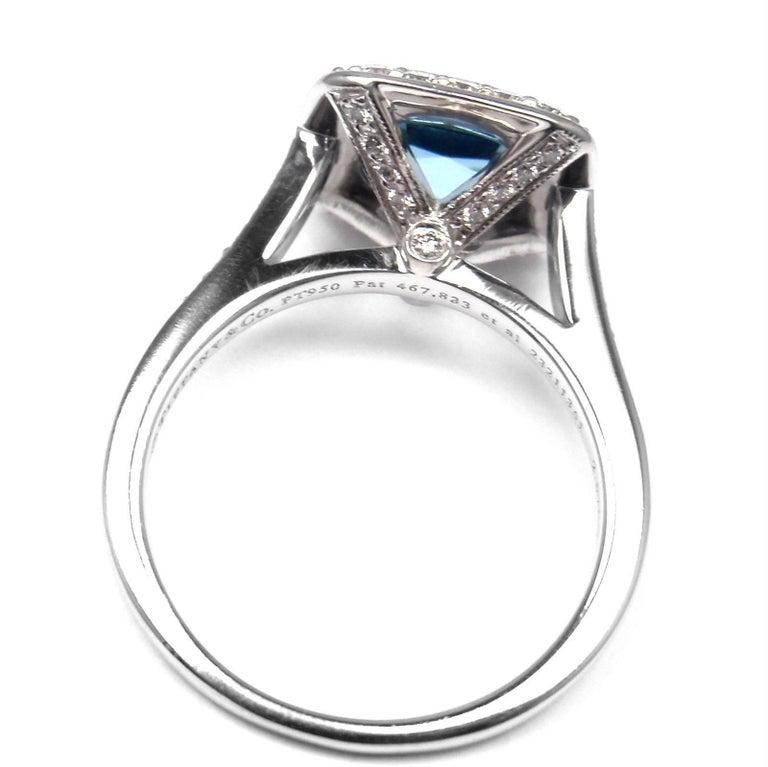 Tiffany & Co. Legacy Diamond 2.07 Carat Aquamarine Platinum Ring For Sale 1
