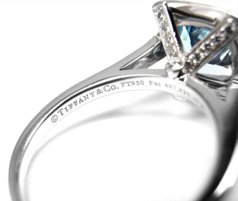 Tiffany & Co. Legacy Diamond 2.07 Carat Aquamarine Platinum Ring For Sale 2
