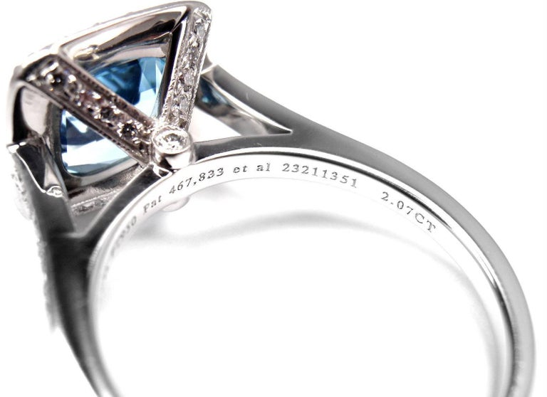 Tiffany & Co. Legacy Diamond 2.07 Carat Aquamarine Platinum Ring For Sale 3