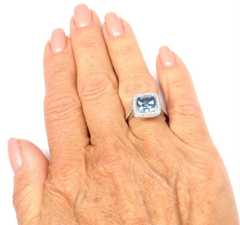 Tiffany & Co. Legacy Diamond 2.07 Carat Aquamarine Platinum Ring For Sale 5