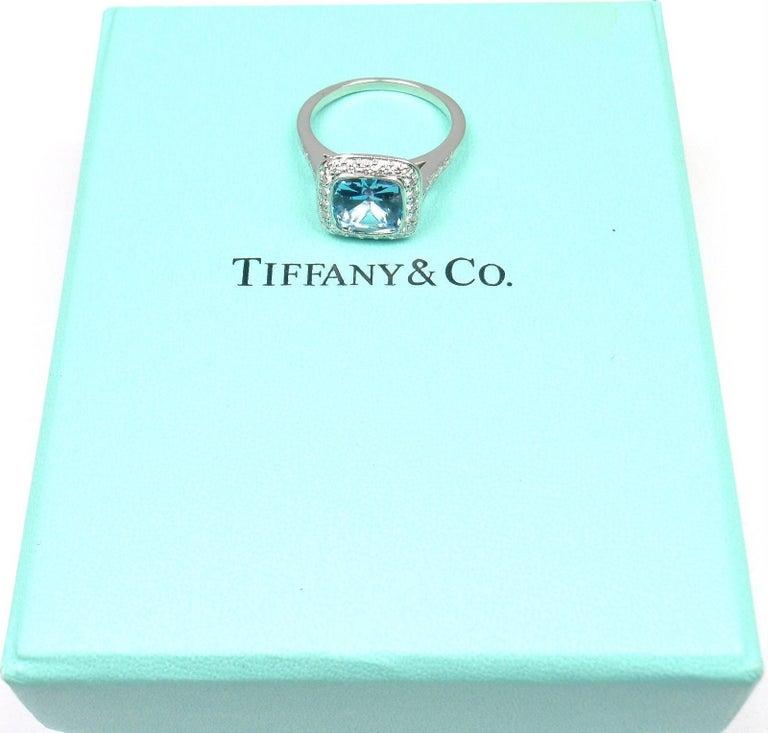 Tiffany & Co. Legacy Diamond 2.07 Carat Aquamarine Platinum Ring For Sale 6
