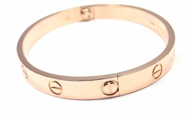 Cartier Love Rose Gold Bangle Bracelet For Sale 1