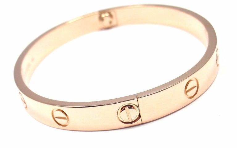 Cartier Love Rose Gold Bangle Bracelet For Sale 2