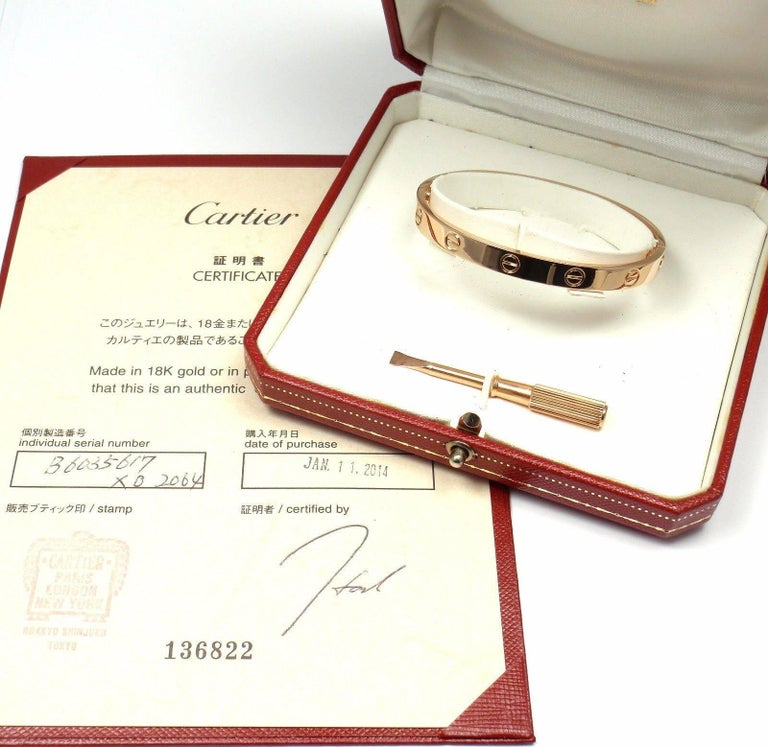 Cartier Love Rose Gold Bangle Bracelet In As New Condition For Sale In Southampton, PA