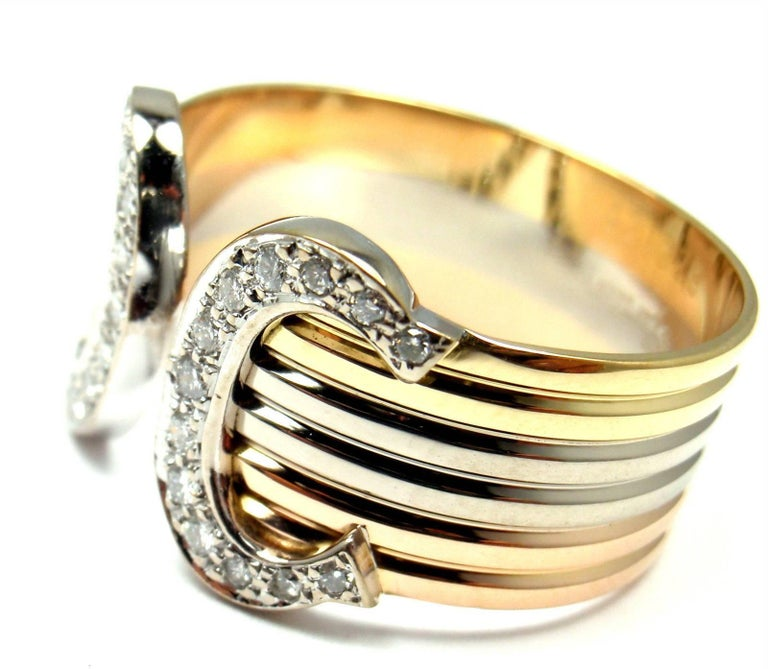 Women's or Men's Cartier Double C Diamond Tricolor Gold Band Ring For Sale