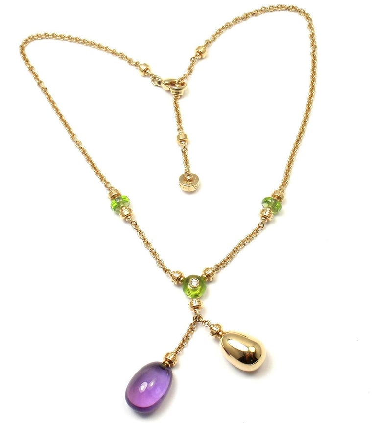 Bulgari Sassi Mediterranean Diamond Peridot Amethyst Yellow Gold Necklace In New Condition For Sale In Southampton, PA