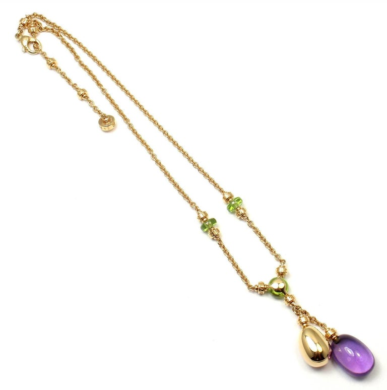 Bulgari Sassi Mediterranean Diamond Peridot Amethyst Yellow Gold Necklace For Sale 1