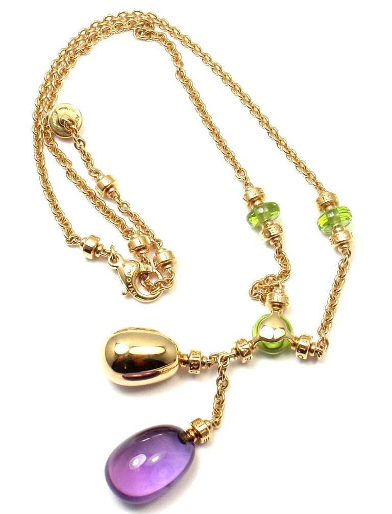Bulgari Sassi Mediterranean Diamond Peridot Amethyst Yellow Gold Necklace For Sale 3
