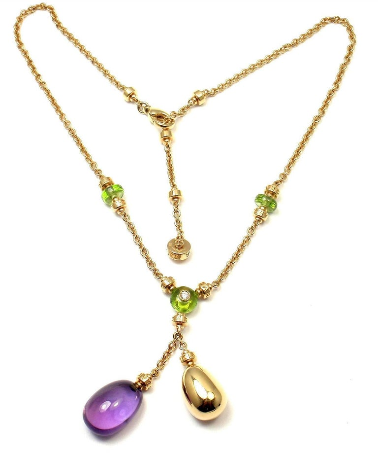 Bulgari Sassi Mediterranean Diamond Peridot Amethyst Yellow Gold Necklace For Sale 5