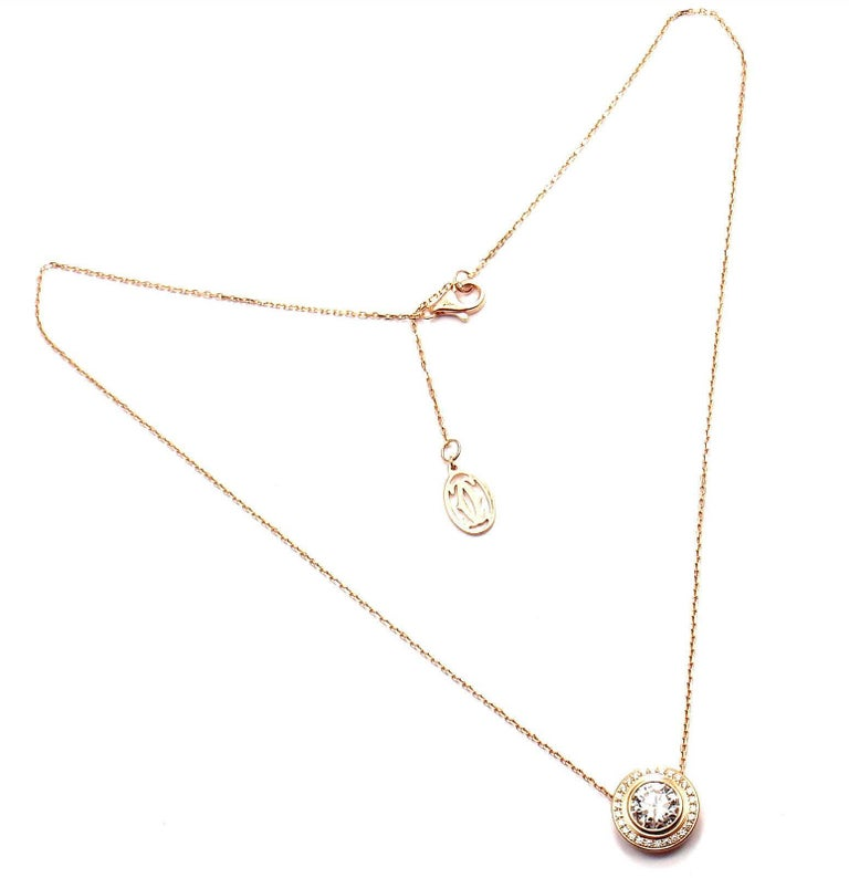 cb09ecca7 Cartier D'Amour 1.04 Carat Diamond Rose Gold Pendant Necklace In New  Condition For Sale