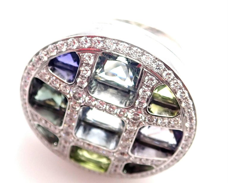 Cartier Pasha Diamond Color Stone White Gold Ring For Sale 3