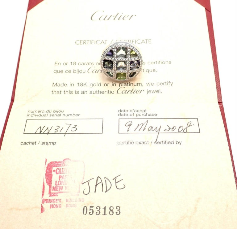 Women's or Men's Cartier Pasha Diamond Color Stone White Gold Ring For Sale