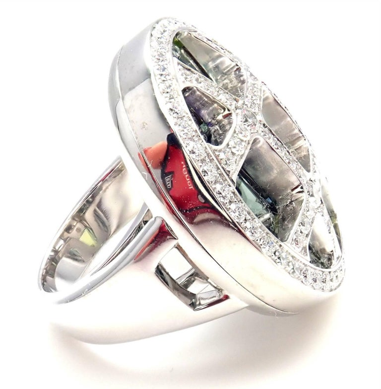 Cartier Pasha Diamond Color Stone White Gold Ring For Sale 1