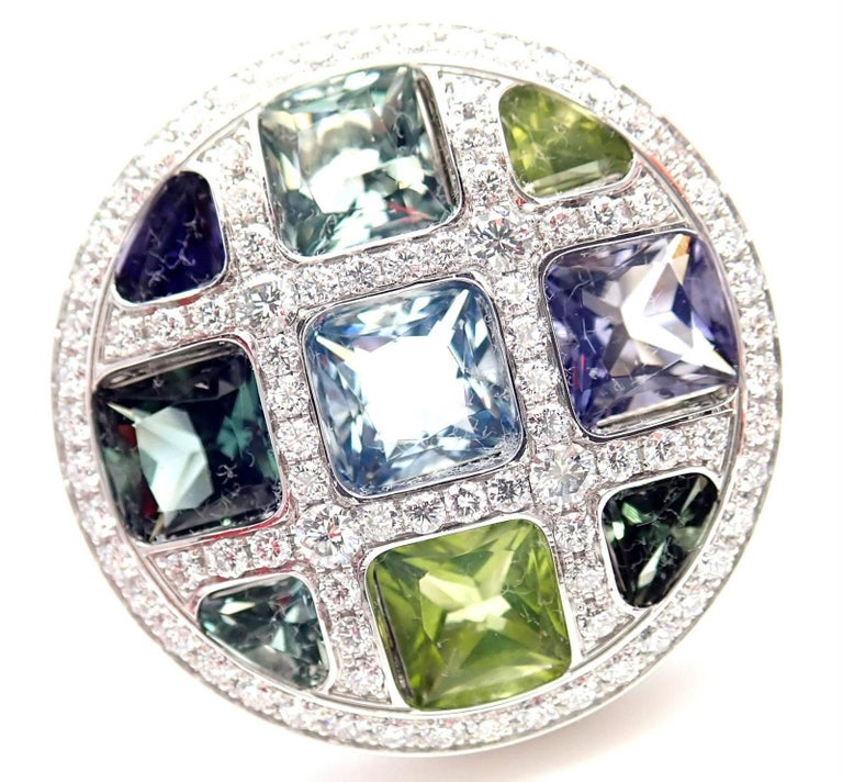 18k White Gold Diamond And Color Stone Large Pasha Ring by Cartier.  With 89 Round brilliant cut diamonds VVS1 clarity, E color total weight approx.1.50ct Peridot, Amethyst, Aquamarine, Green Tourmaline, Violet Cordierite This ring is in mint