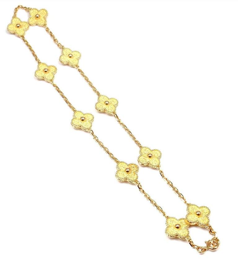 Van Cleef & Arpels Vintage Alhambra Ten Motif Gold Necklace For Sale 5