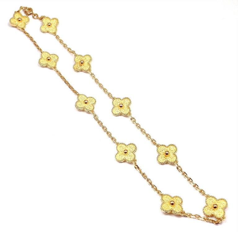 Van Cleef & Arpels Vintage Alhambra Ten Motif Gold Necklace For Sale 3