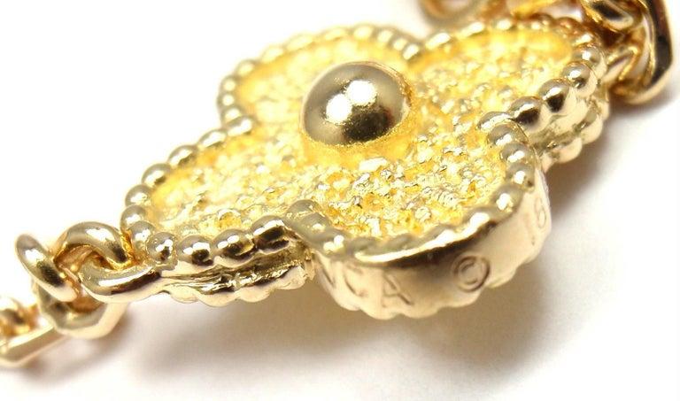 Van Cleef & Arpels Vintage Alhambra Ten Motif Gold Necklace For Sale 1
