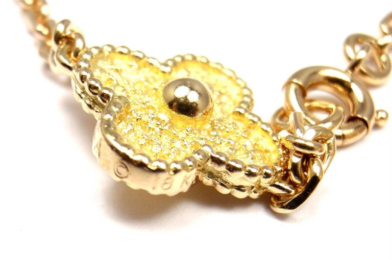 Van Cleef & Arpels Vintage Alhambra Ten Motif Gold Necklace For Sale 2