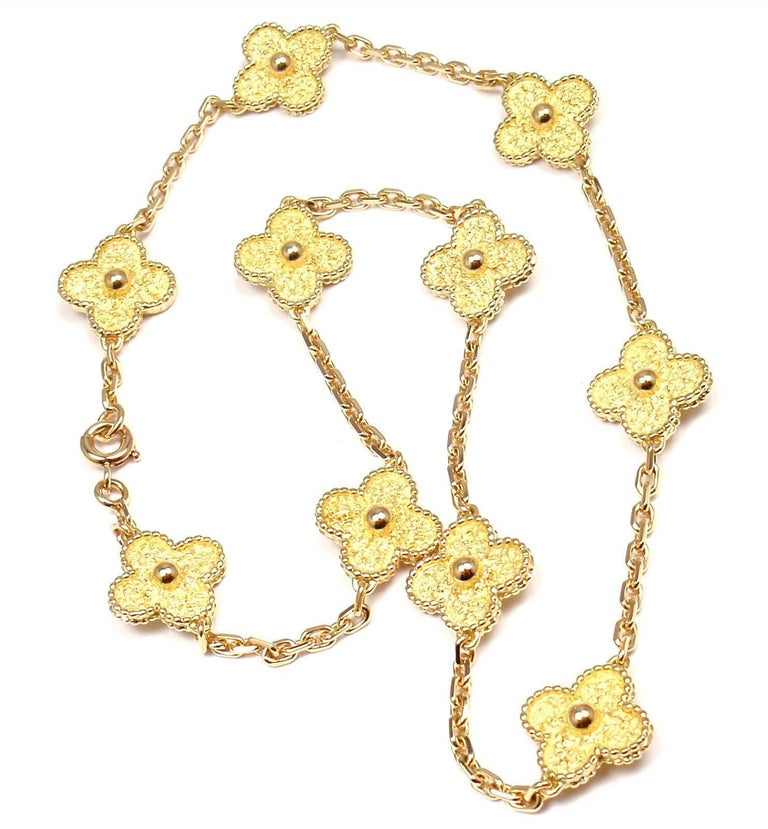 "18k Yellow Gold Vintage Alhambra 10 Motif Necklace by Van Cleef & Arpels. With 10 gold alhambra motifs 14mm each Details: Length: 16"" Weight: 27.6 grams Stamped Hallmarks: VCA 18k  B4097R123 French Hallmark *Free Shipping within the United"