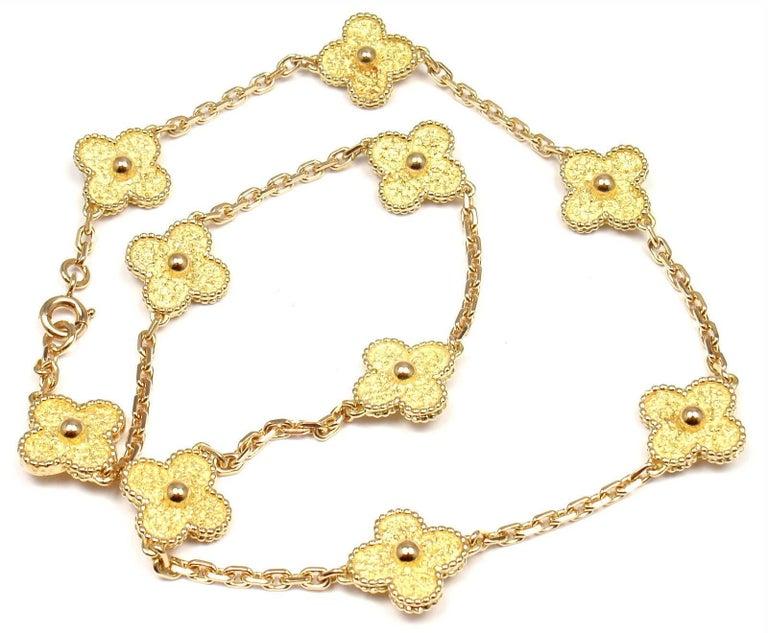 Van Cleef & Arpels Vintage Alhambra Ten Motif Gold Necklace For Sale 4