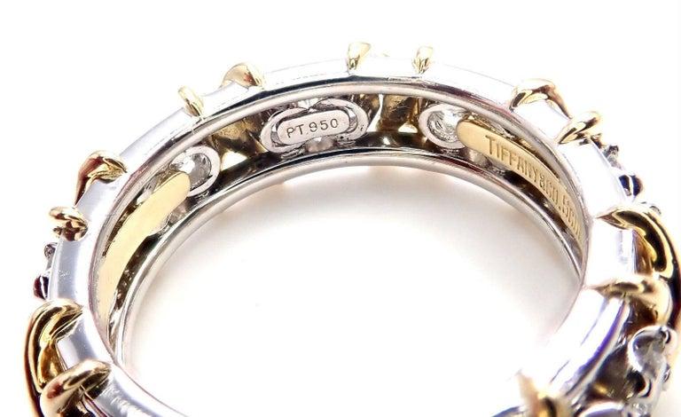 Tiffany & Co. Jean Schlumberger 16-Stone Diamond Gold Platinum Band Ring 5