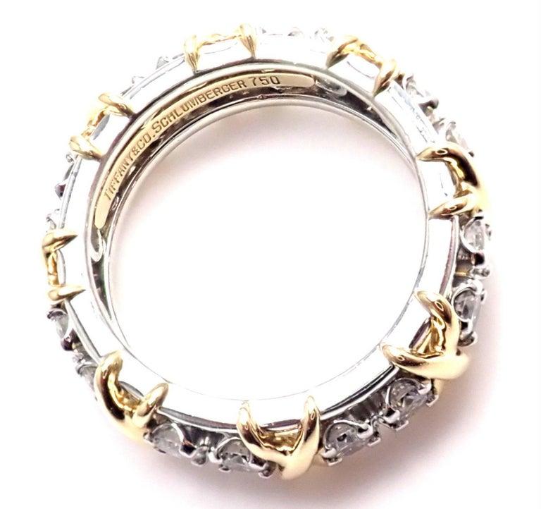 Tiffany & Co. Jean Schlumberger 16-Stone Diamond Gold Platinum Band Ring 8