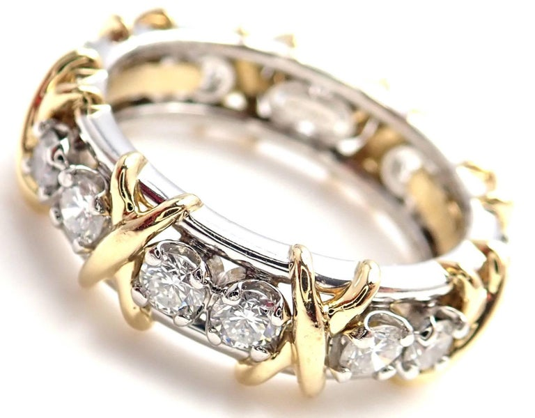 Tiffany & Co. Jean Schlumberger 16-Stone Diamond Gold Platinum Band Ring In As New Condition For Sale In Southampton, PA