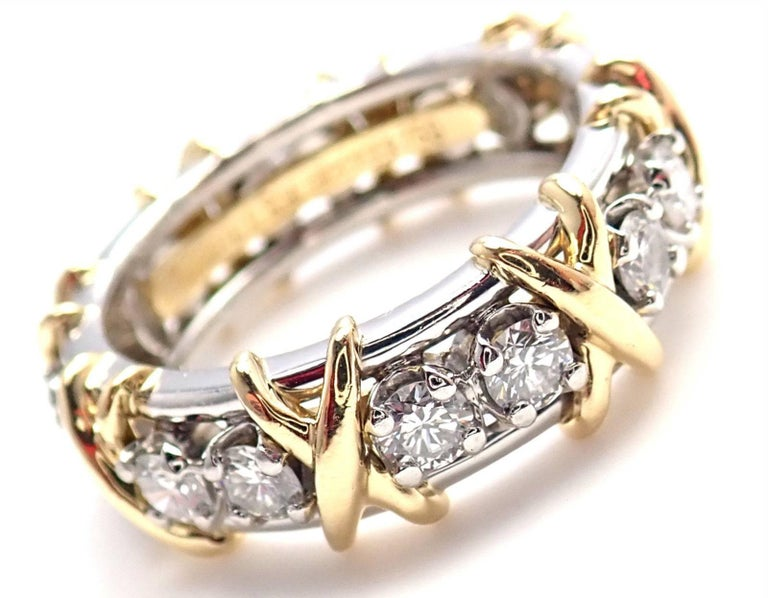 Tiffany & Co. Jean Schlumberger 16-Stone Diamond Gold Platinum Band Ring 7