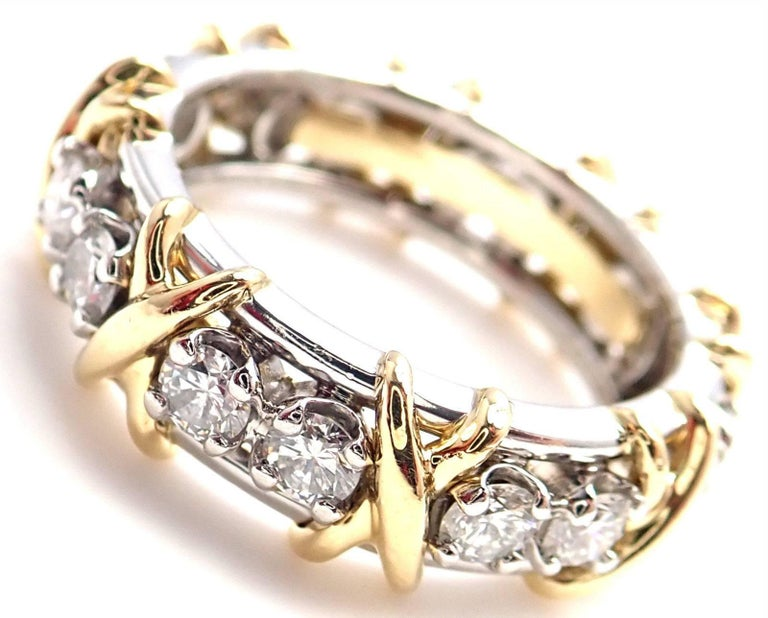 Tiffany & Co. Jean Schlumberger 16-Stone Diamond Gold Platinum Band Ring 2