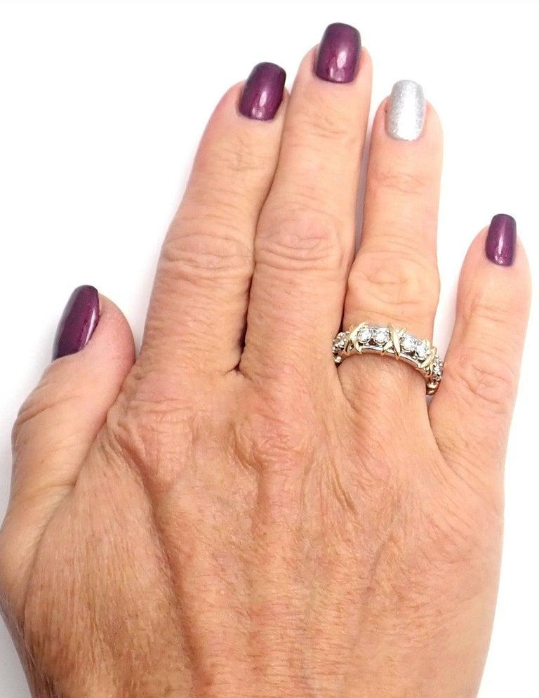 Tiffany & Co. Jean Schlumberger 16-Stone Diamond Gold Platinum Band Ring 9