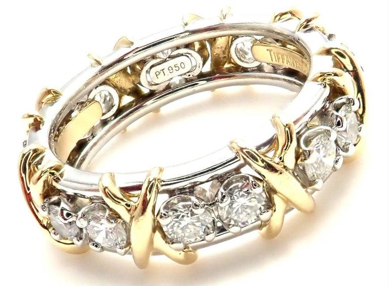 Tiffany & Co. Jean Schlumberger 16-Stone Diamond Gold Platinum Band Ring 4
