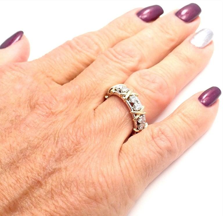 Tiffany & Co. Jean Schlumberger 16-Stone Diamond Gold Platinum Band Ring 10