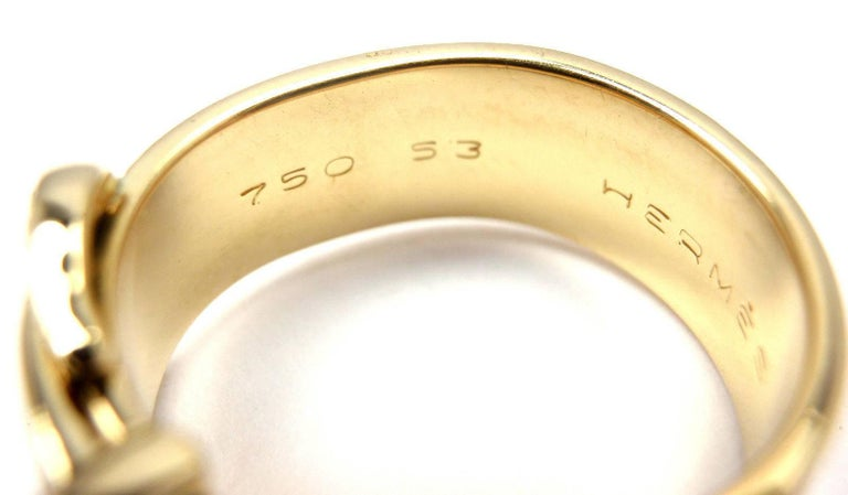 Hermes Diamond Wide Buckle Yellow Gold Band Ring For Sale 3