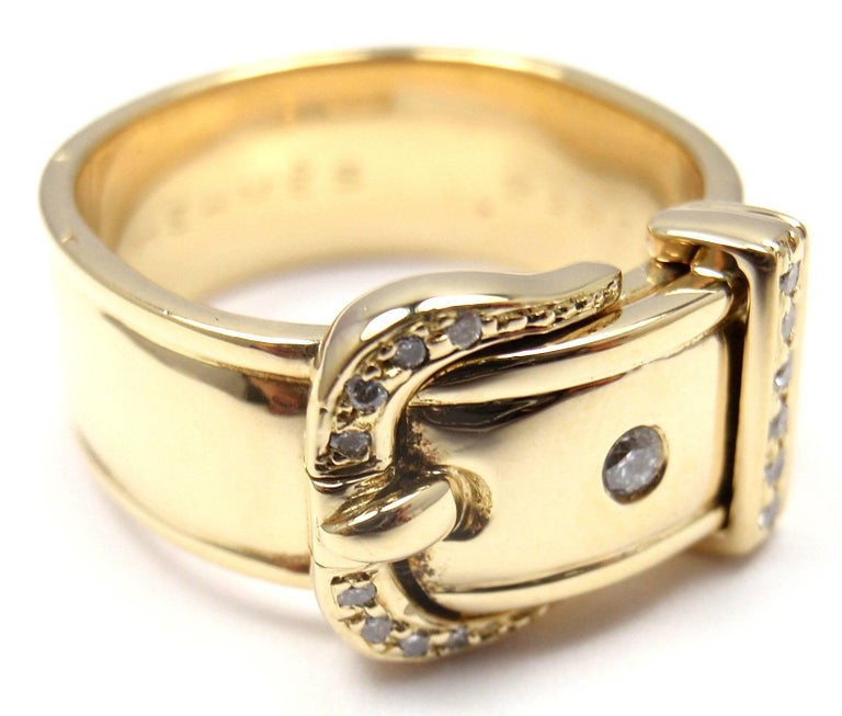 Hermes Diamond Wide Buckle Yellow Gold Band Ring For Sale 1