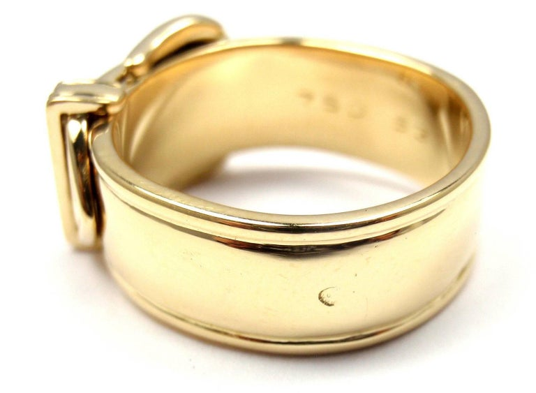 Hermes Diamond Wide Buckle Yellow Gold Band Ring In New Condition For Sale In Holland, PA
