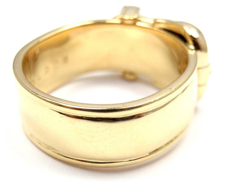Women's or Men's Hermes Diamond Wide Buckle Yellow Gold Band Ring For Sale