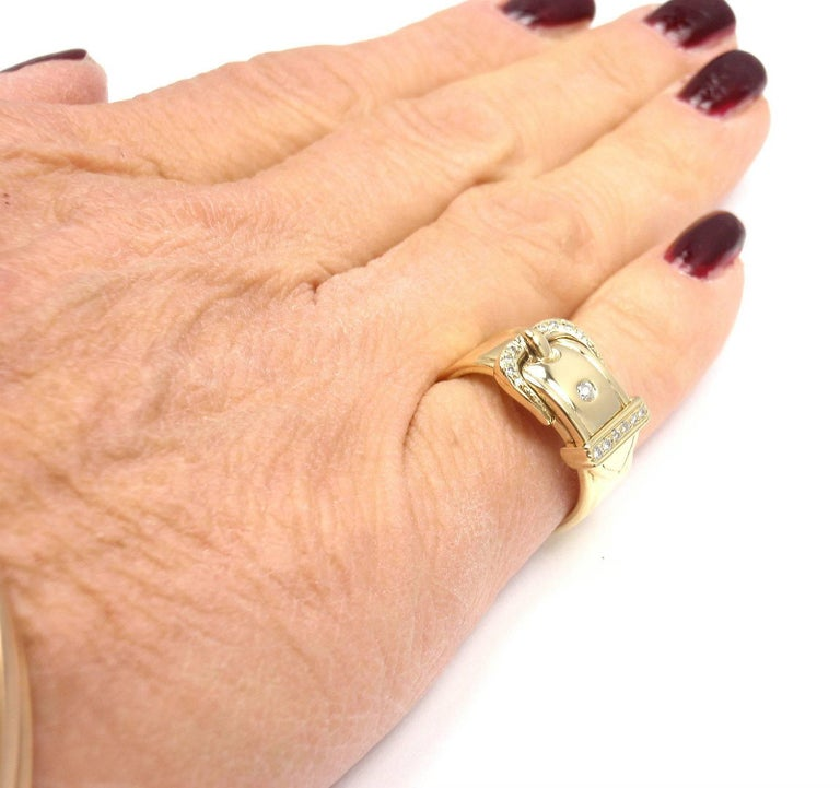 Hermes Diamond Wide Buckle Yellow Gold Band Ring For Sale 6