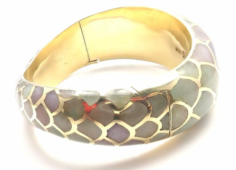 "18k Yellow Gold Inlaid Purple And Green Jade Snakeskin Bangle Bracelet by Angela Cummings.  Details:  Weight: 68.0 grams Length: 6.5"" Width: 3/4"" Stamped Hallmarks: Angela Cummings 18k *Free Shipping within the United States* YOUR PRICE:"