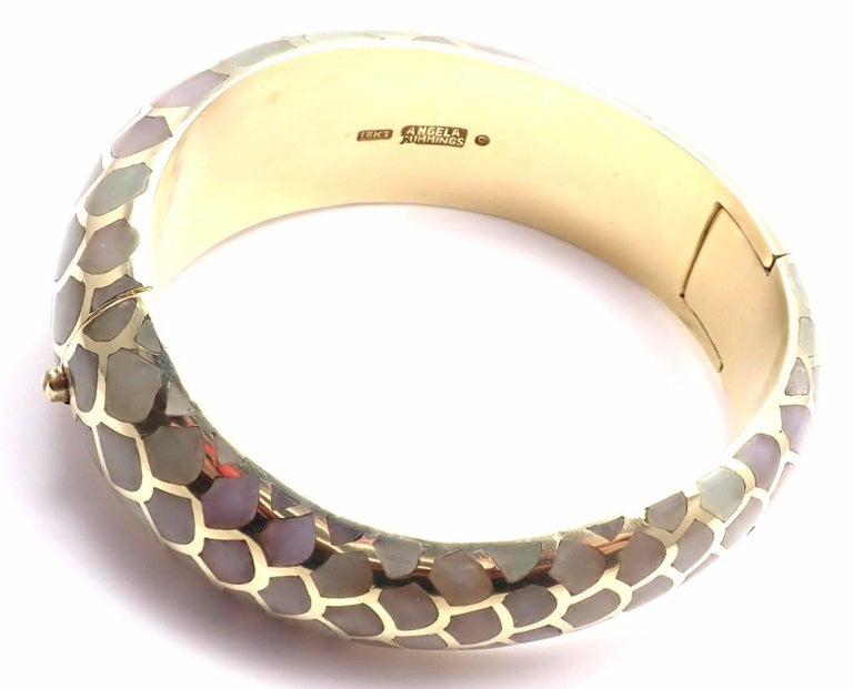 Angela Cummings Purple and Green Jade Snakeskin Yellow Gold Bangle Bracelet For Sale 2