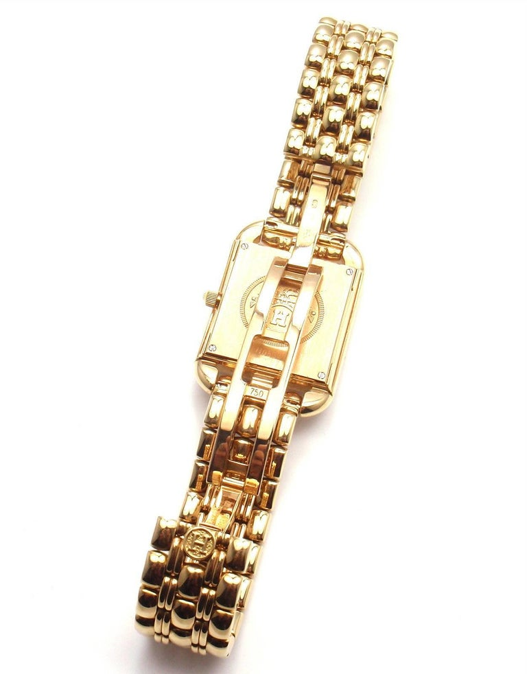 Hermes Ladies Yellow Gold Diamond Cape Cod Quartz Wristwatch 7