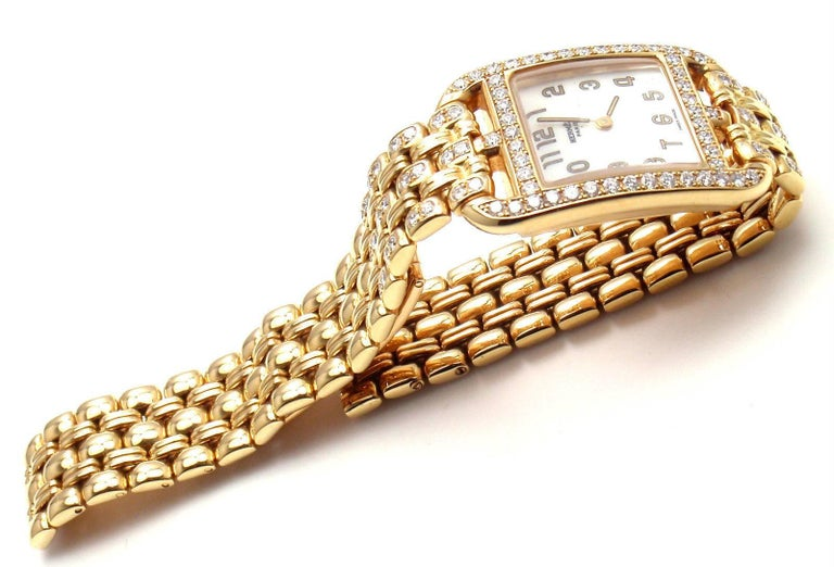 Hermes Ladies Yellow Gold Diamond Cape Cod Quartz Wristwatch 9
